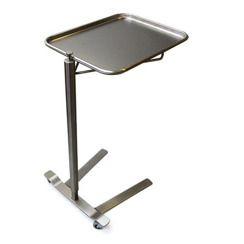 Mayo table on casters / height-adjustable / stainless steel