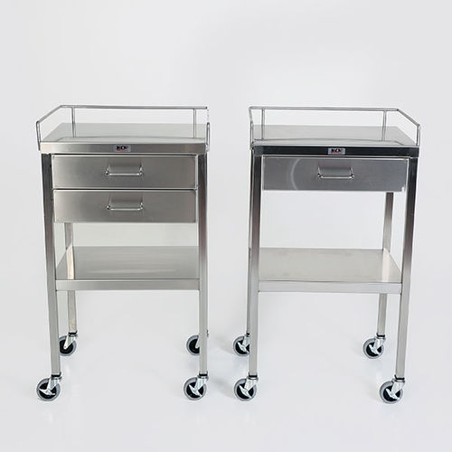 service trolley / transport / with drawer / stainless steel