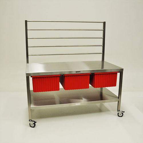 worktop with storage unit / sterilization / stainless steel