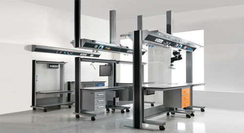 supply beam system / ceiling-mounted / laboratory