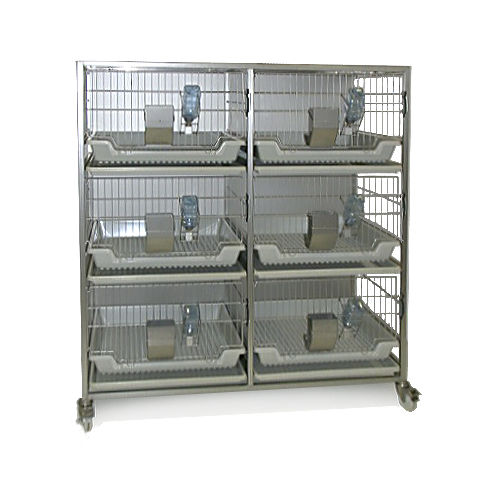 rabbit animal research cage / modular / autoclavable / stainless steel