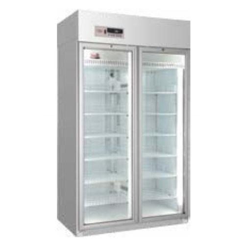 pharmacy refrigerator / cabinet / 2-door / with glass door
