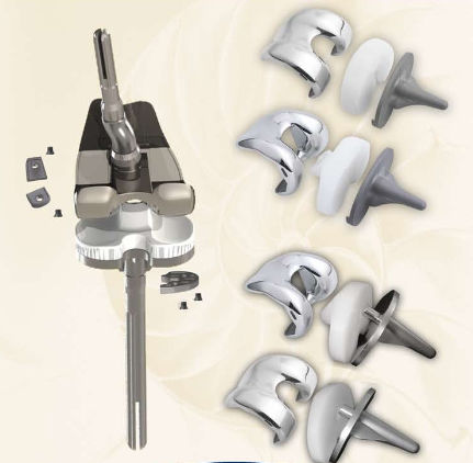 three-compartment knee prosthesis / revision / fixed or mobile-bearing / cemented or non-cemented