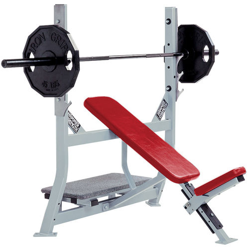 inclined weight training bench / with barbell rack