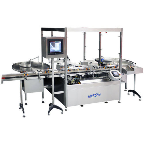 bottle labeling machine / for vials / in-line