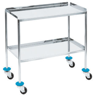 2-shelf instrument table / on casters / stainless steel