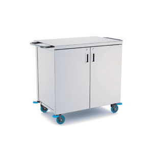 transport trolley / for sterilization containers / 2-door / stainless steel