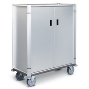 meal delivery trolley / transport / 2-door / stainless steel