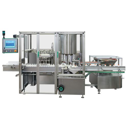 continuous-motion filler / linear / for industrial applications / for liquids