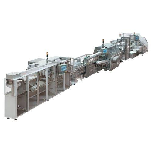 blister packaging system / floor-standing / line-type / for the pharmaceutical industry