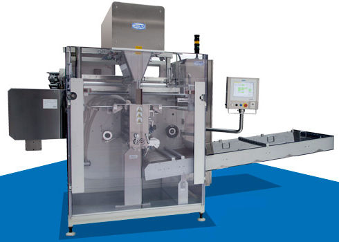 floor-standing sachet packing machine / for the pharmaceutical industry / for powders / for tablets