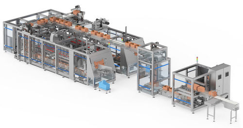 line-type packaging system / form-fill-seal / for the medical industry / high-speed