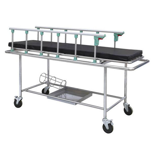 transport stretcher trolley / manual / stainless steel / 1-section