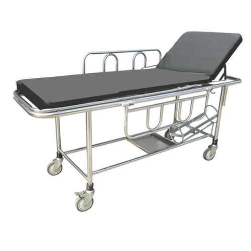 transport stretcher trolley / manual / stainless steel / 2-section