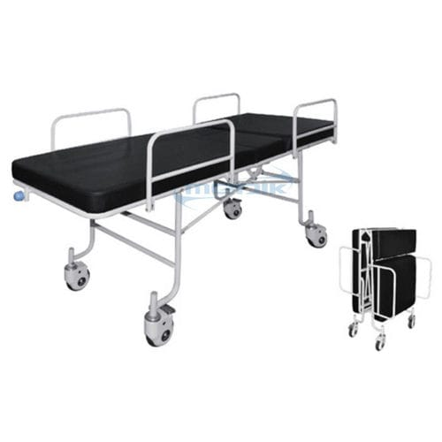 patient transfer stretcher trolley / manual / with adjustable backrest / foldable