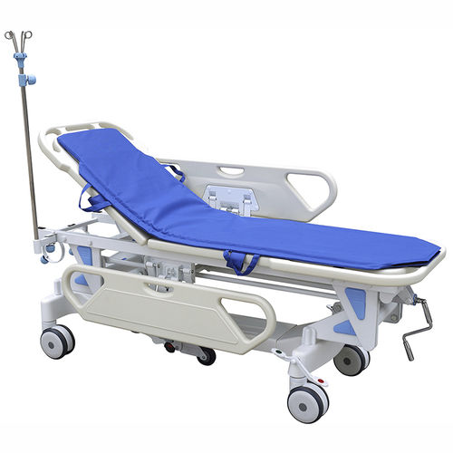 patient transfer stretcher trolley / manual / pneumatic / height-adjustable