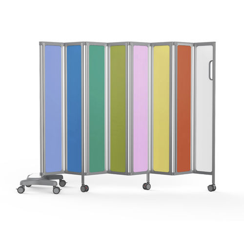 hospital screen on casters / portable / 6-panel / folding