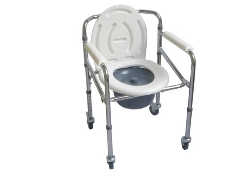 commode chair with armrests / with bucket / with cutout seat / for people with reduced mobility