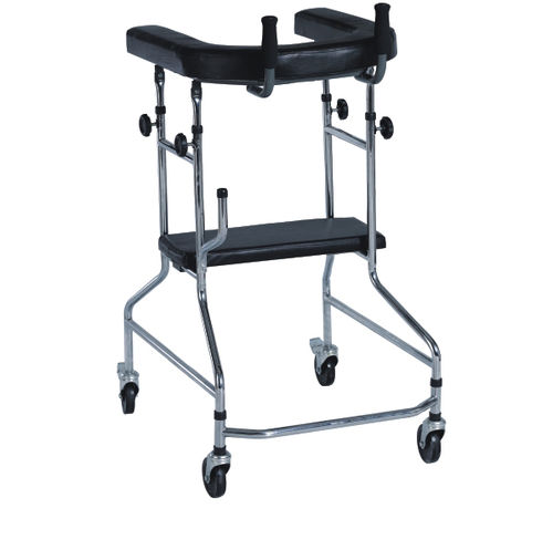 4-caster rollator / with seat / height-adjustable / folding