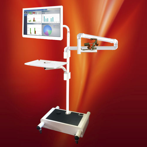operating room trolley / with tray / with monitor support