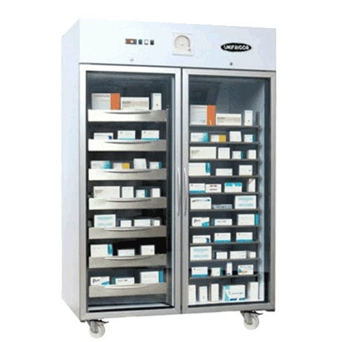 medical freezer / cabinet / with glass door / on casters