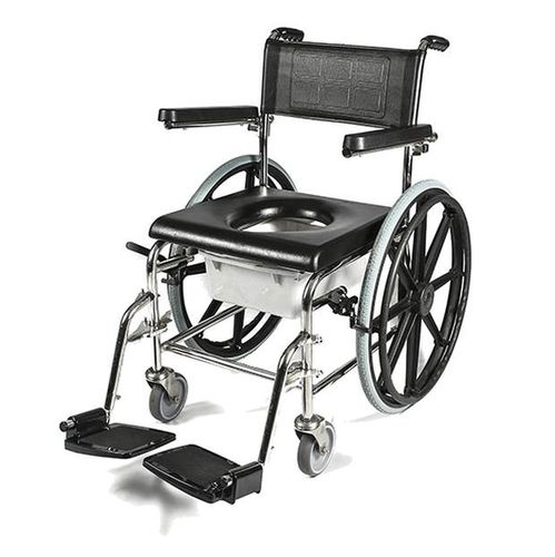 shower chair / with armrests / on casters / with cutout seat