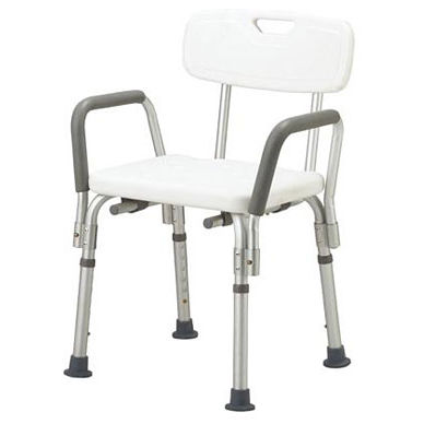 shower chair / with armrests / with backrest / height-adjustable