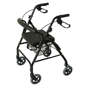 4-caster rollator / with seat / with basket / height-adjustable