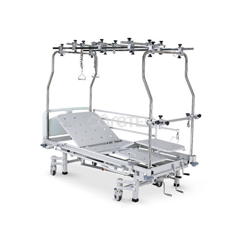 medical bed / manual / height-adjustable / on casters