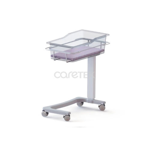 height-adjustable hospital bassinet / on casters / transparent