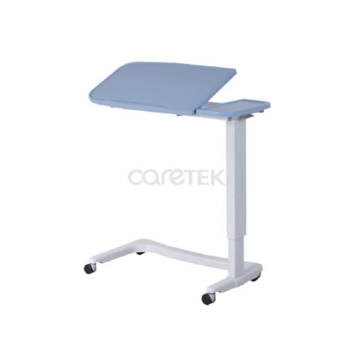height-adjustable overbed table / tilting / on casters / manually operated