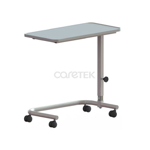 height-adjustable overbed table / on casters / manually operated