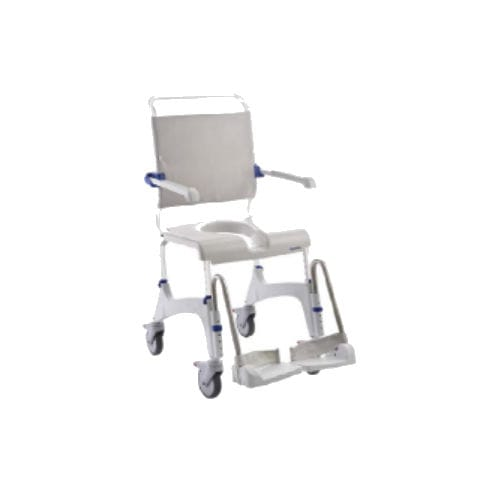 shower chair / with cutout seat / with armrests / on casters