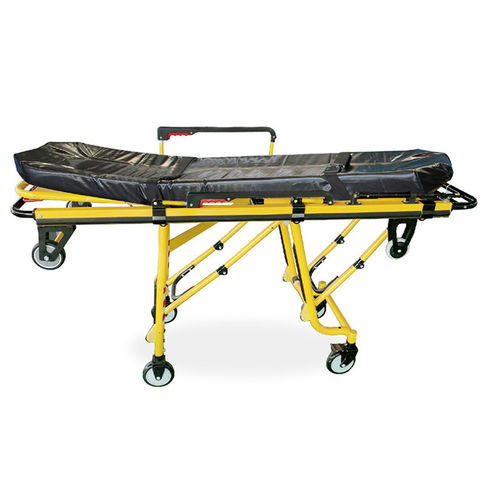 transport stretcher trolley / manual / folding / stainless steel