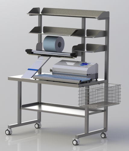 worktop on casters / with shelf unit / with basket / pharmacy