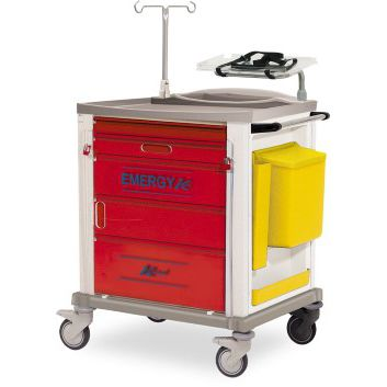emergency trolley / for instruments / medicine / with drawer