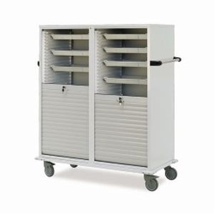 transport trolley / with shelf / with tambour door / medical