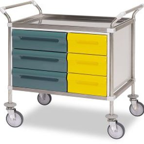 dressing trolley / with drawer / stainless steel