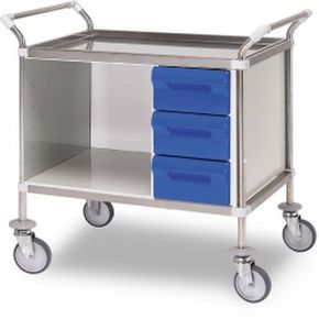 dressing trolley / with drawer / medical / stainless steel