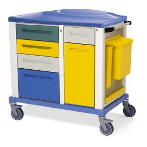 storage trolley / for general purpose / 6-drawer / with waste bin