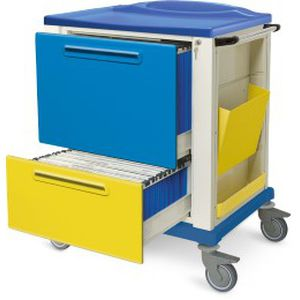 storage trolley / for medical records / 2-drawer / medical