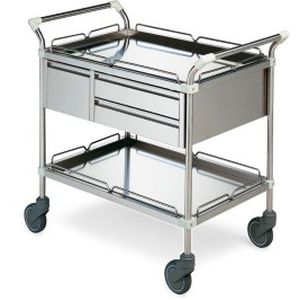 transport trolley / for general purpose / 3-drawer / with tray