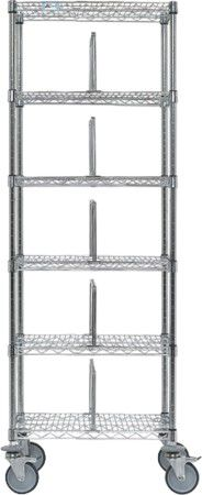 6-shelf shelving unit / for container storage / open-structure / mobile