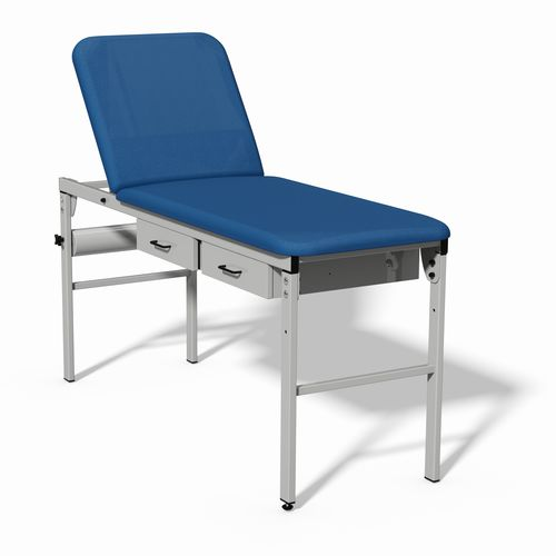 manual examination table / fixed-height / with adjustable backrest / 2 sections