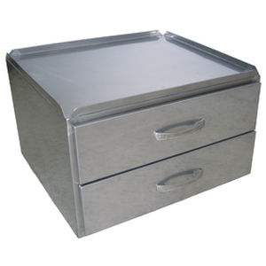 hospital cabinet / 2-drawer / stainless steel
