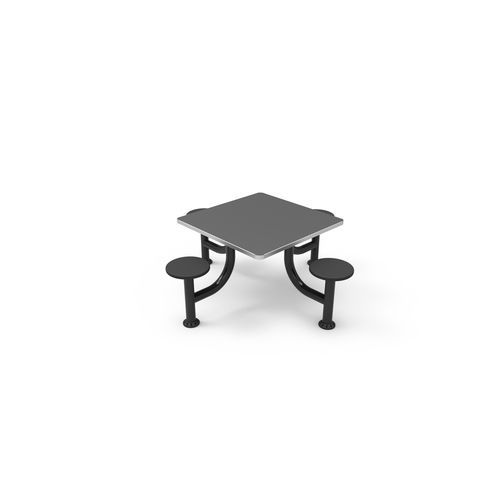 dining table / square / stainless steel / with attached chair