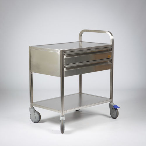 transport trolley / for medical devices / 2-drawer / 1-tray