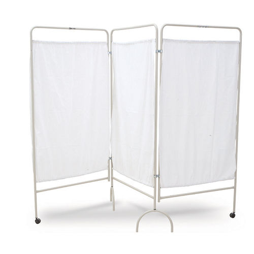 mobile hospital screen / folding / 3-panel / with curtain
