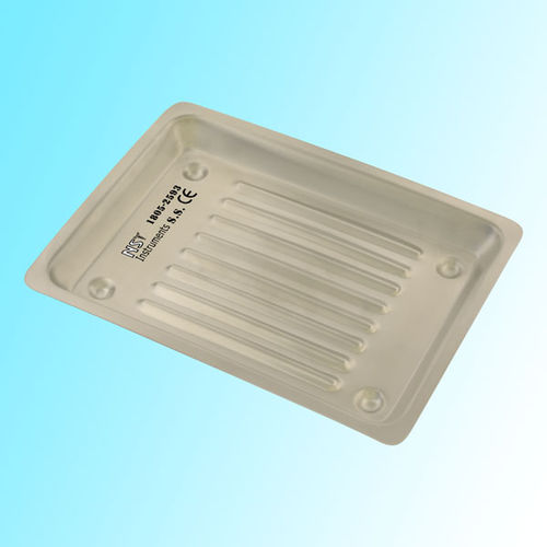 instrument sterilization tray / for dental instruments / stainless steel / non-perforated