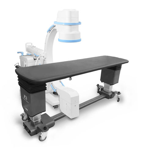 mobile angiography table / height-adjustable / tilting